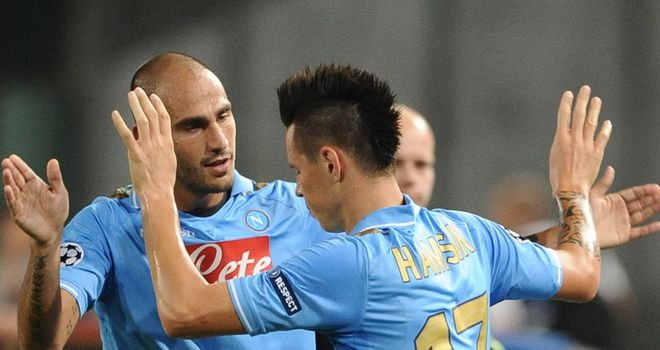 Hamsik: Celebrating his fine opening strike for Napoli with his team-mates