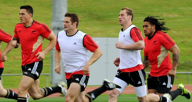 Setting the pace: Sonny Bill Williams, Richie McCaw, Andy Cowan and Ma'a Nonu in training