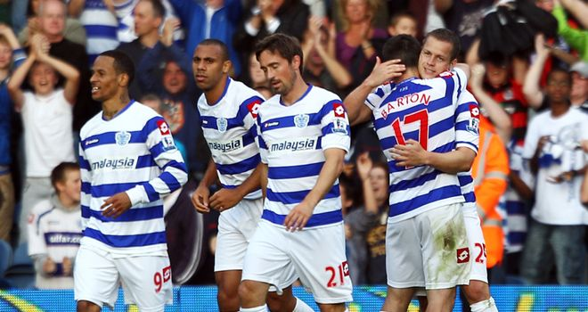 Helguson: QPR celebrate after forcing a dramatic leveller