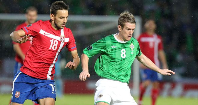 Milos Ninkovic: In action for Serbia against Northern Ireland
