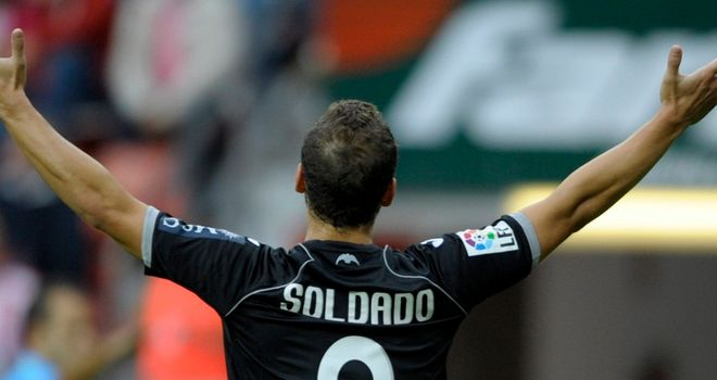 Soldado: Celebrates winner at Gijon