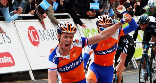 Lars Boom: The Rabobank rider celebrates on the finish line in Stoke-on-Trent