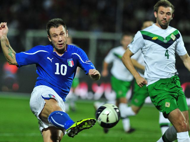Antonio Cassano volleys home the opening goal.