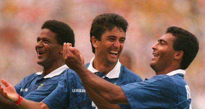 Mazinho, Bebeto and Romario celebrate the birth of Mattheus at the 1994 World Cup