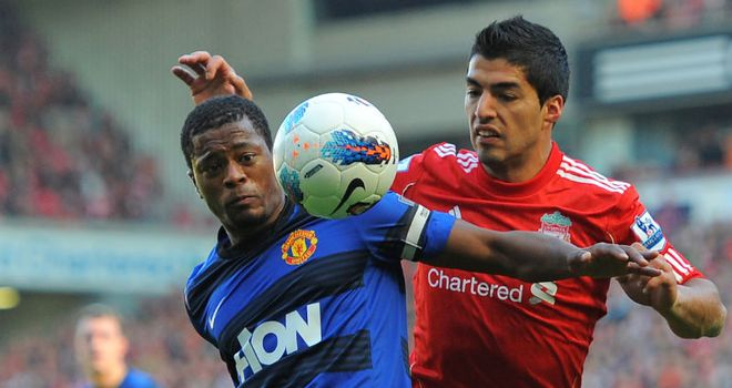 Patrice Evra: United's captain at Anfield was involved in an ongoing row with Luis Suarez