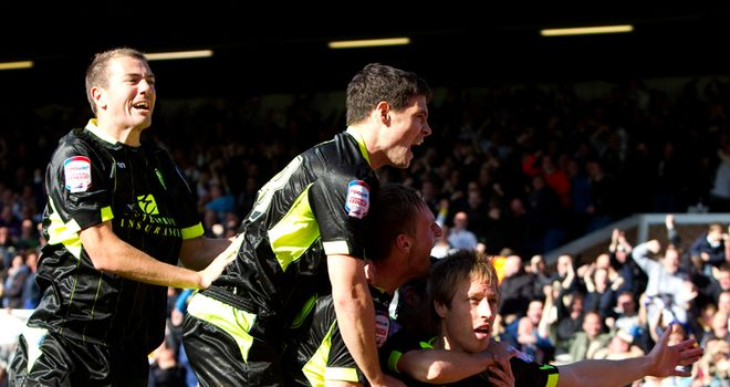 Becchio: Celebrates Leeds' winner