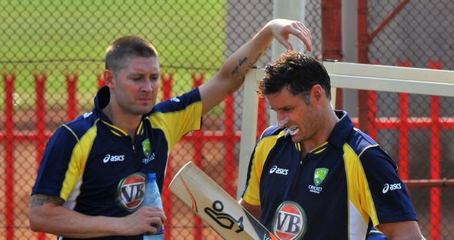 Michael Hussey (r) believes Michael Clarke is the right man to take Australia forward