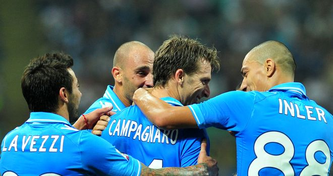 Campagnaro is mobbed by his team-mates after opening the scoring