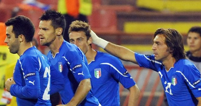 Claudio Marchisio: Italy celebrate their goal before being pegged back by Ivanovic