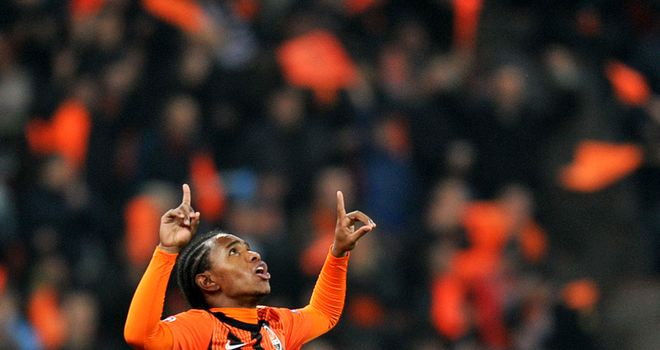 Willian: Shakhtar's Brazilian striker looks to the heavens as he celebrates