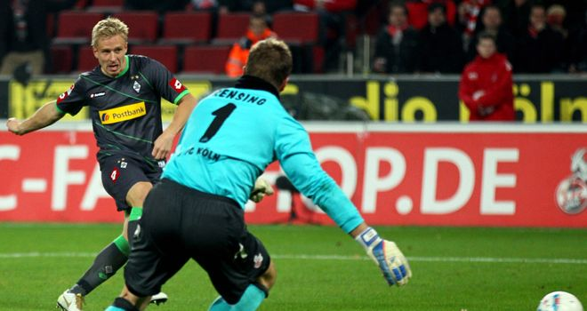 Mike Hanke: Monchengladbach striker opens the scoring for his team