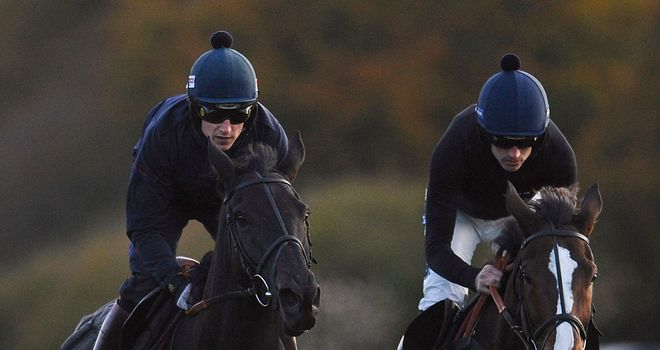 Harry Skelton, on Big Bucks, and Ruby Walsh, on Kauto Star, gallop after racing at Exeter