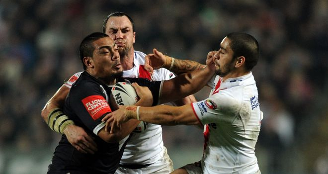 Rangi Chase gets stuck in for England