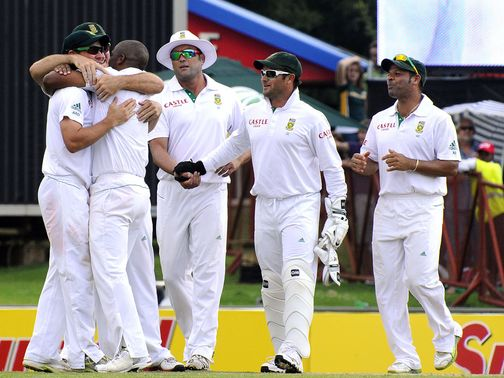 The South Africa players celebrate an easy win