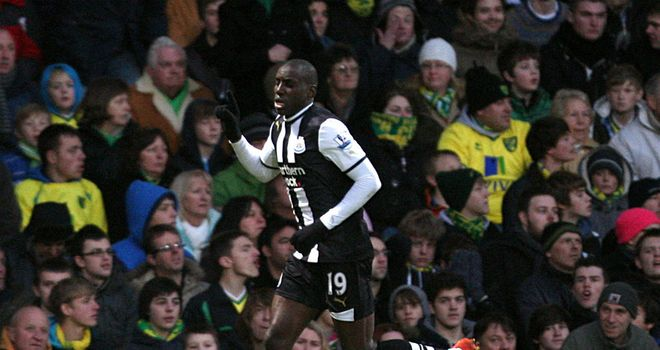 Demba Ba: Bagged a brace at Carrow Road, but his efforts were to no avail