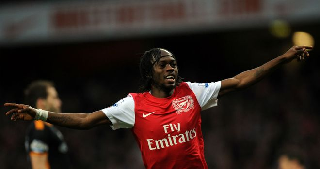 Gervinho: Arsenal striker celebrates after scoring against Wolves