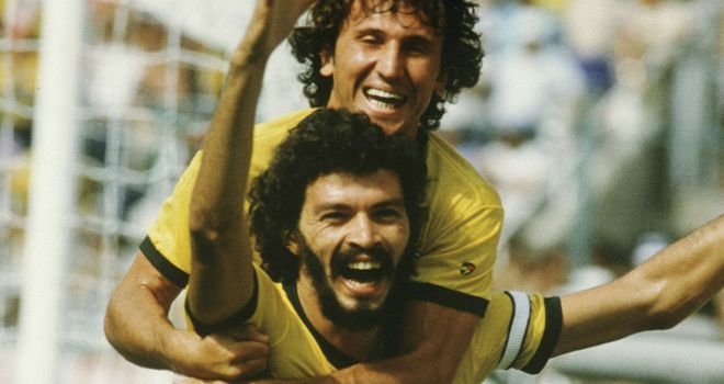 Zico and Socrates: The midfield duo played together many times for Brazil