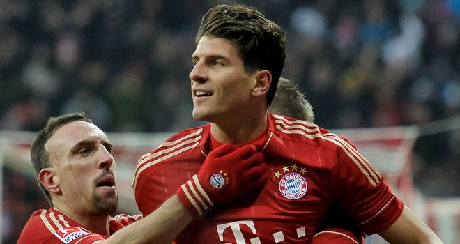 Mario Gomez: Scored a hat-trick as Bayern Munich thumped Hoffenheim 7-1