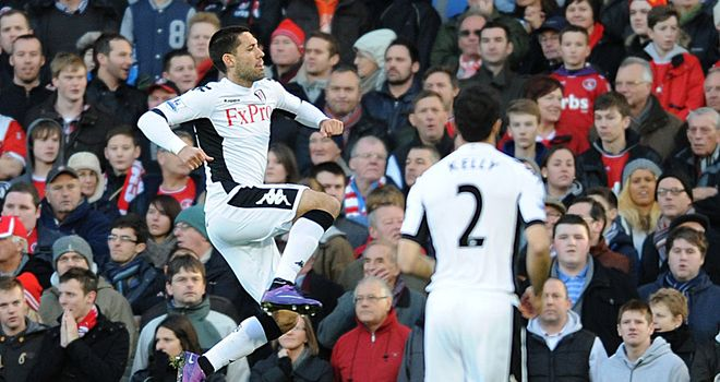 Clint Dempsey celebrates giving Fulham the lead at Craven Cottage