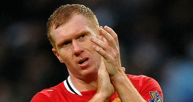 Paul Scholes played for an hour in Man United's 3-2 victory at the Etihad Stadium