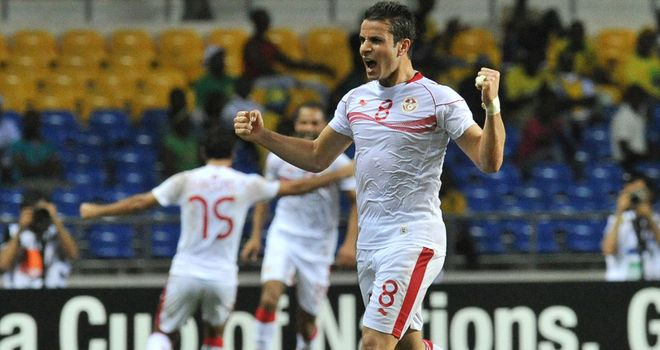Celebration time: Tunisia take the lead through Khaled Korbi