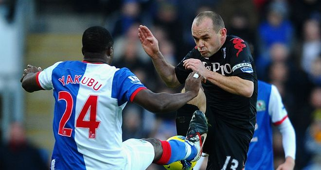 Yakubu: Rovers striker was sent off for this studs high challenge on Danny Murphy