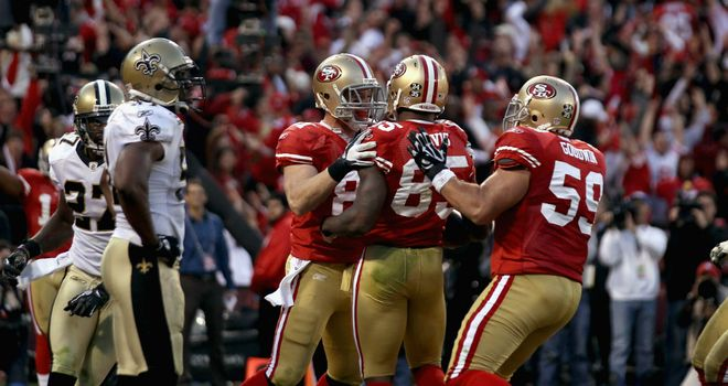 49ers celebrate the game-winning touchdown