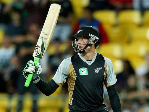 Martin Guptill: smashed the final ball to the boundary to win the match for New Zealand