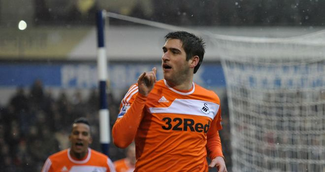 Danny Graham celebrates his winning goal for Swansea