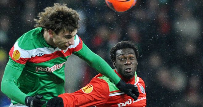 Felipe Caicedo challenges for the ball in Lokomotiv Moscow's win over Athletic Bilbao