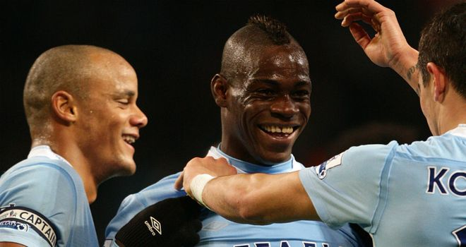 Mario Balotelli opened the scoring for Manchester City at home to Blackburn