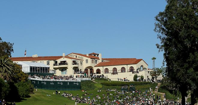 The famous 18th and clubhouse at Riviera