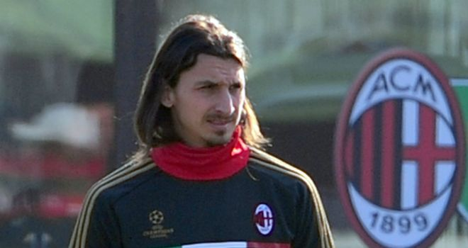 Zlatan Ibrahimovic in training ahead of Milan's Champions League fixture with Arsenal