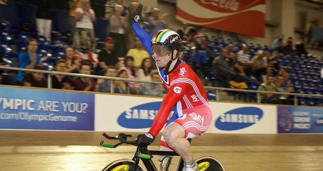Jody Cundy: The 2012 hopeful celebrates his 1km victory at the Para-Cycling Track World Championships (copyright Kelkel)