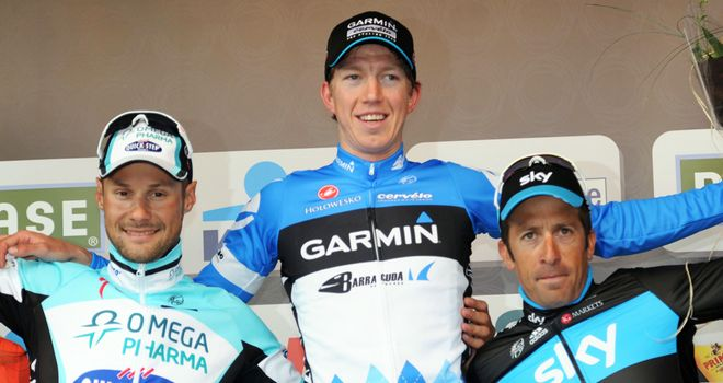 Sep Vanmarcke (centre): Proved too strong for Boonen (left) and Flecha in Belgium