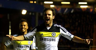 Mata: Celebrates his strike for Chelsea
