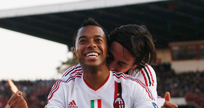 Robinho: The AC Milan striker scored one but had another controversially denied in their 1-1 draw at Catania