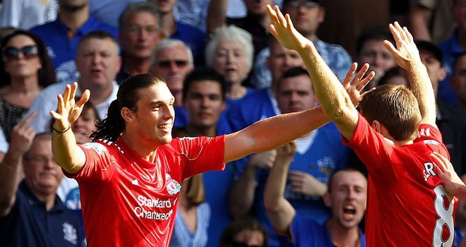 Steven Gerrard is happy for Andy Carroll after the striker scored against Everton