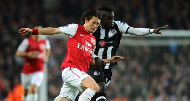 Cheick Tiote in action during Newcastle's clash at Arsenal