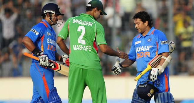 Sachin Tendulkar: veteran India right-hander is congratulated after completing his century of centuries