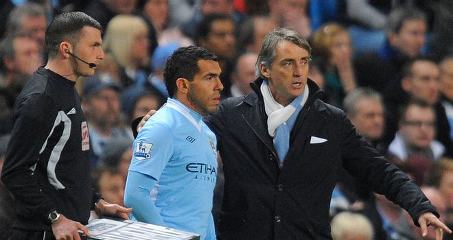Roberto Mancini: Happy with Carlos Tevez's comeback and expects more from the striker