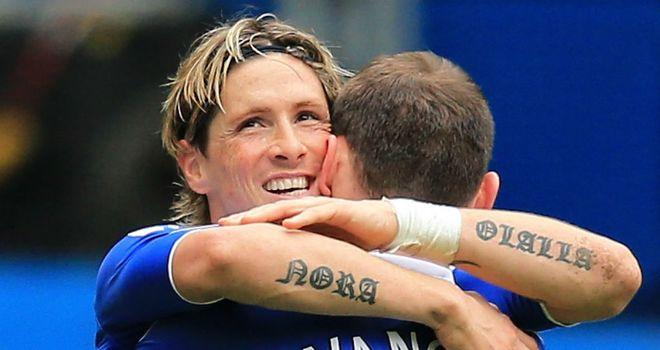 Joy for Fernando Torres as he celebrates his brace with Branislav Ivanovic