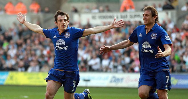 Leighton Baines: Has praised the influence of Steven Pienaar since re-joining the club in January