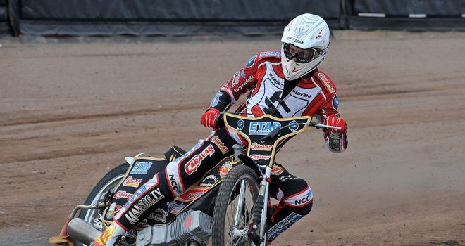 Linus Sundstrom in action for Peterborough Panthers speedway pic credit Edward Garvey