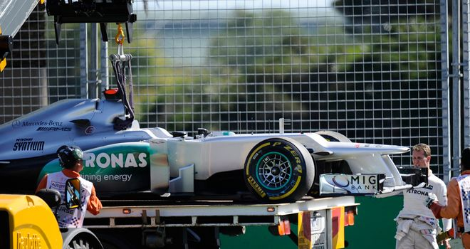 Schumacher's Melbourne practice off gave rivals a good look at the underneath of the W03