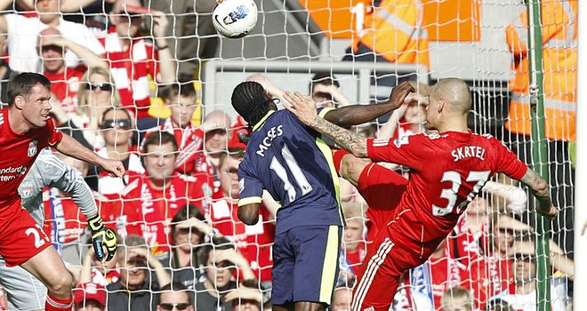 Victor Moses: A doubt for Saturday after being kicked in the head by Liverpool defender Martin Skrtel