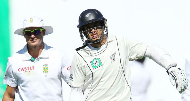 Ross Taylor: Laves the field after being hit on the arm