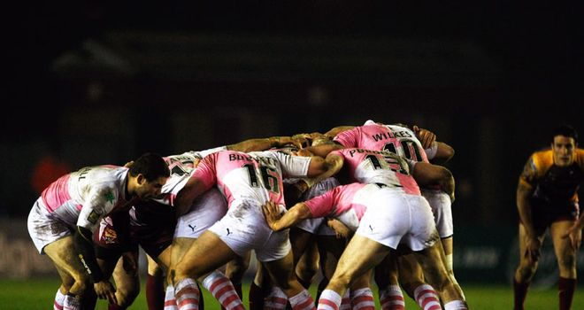 Engaging? Harlequins and Huddersfield pack down at the Twickenham Stoop last March