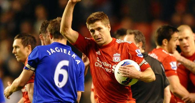 Steven Gerrard: Scored a hat-trick in March as Everton were defeated at Anfield