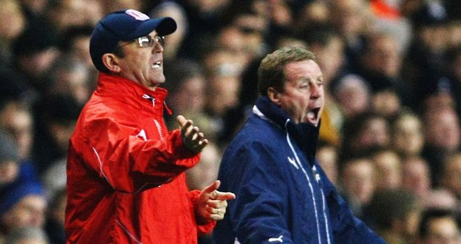 Tony Pulis (left): Believes that Harry Redknapp (right) is fully focused on his job at Tottenham